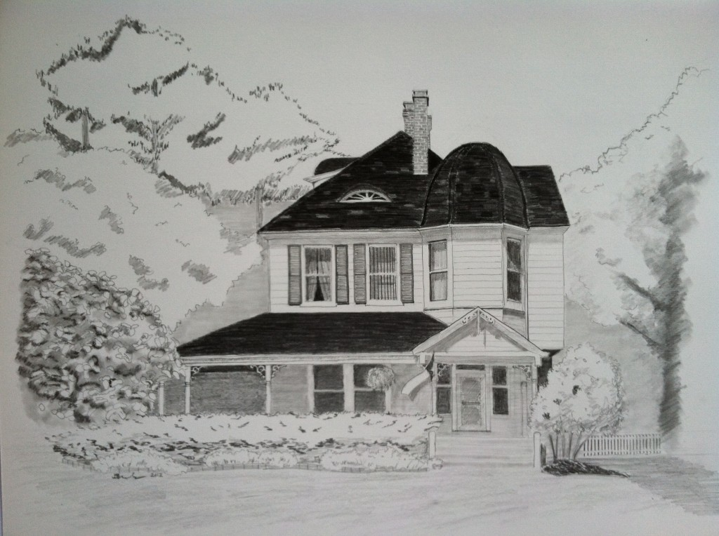 Jeb Brack drawing of a house in Wyoming