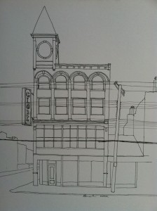 Drawing of the Globe Building at Findlay Market